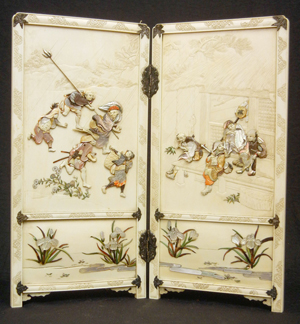 Ivory and shibayama table screen encrusted with mother of pearl and tinted ivory, figurines in rain and shelter, signed on one panel, Japan, 19th century. Est. $3,000-$6,000. Stephenson's Auctioneers image.