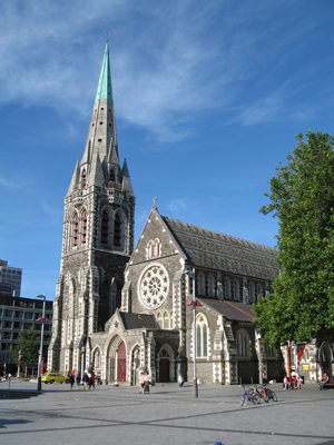 Christ Church, Cathedral Square, Christchurch, before the earthquake struck on Feb. 22, 2011. Photograph by Greg O'Beirne. This file is licensed under the Creative Commons Attribution-Share Alike 3.0 Unported license.