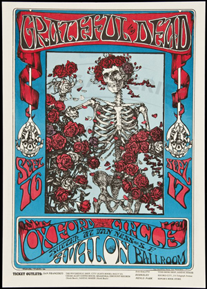 Grateful Dead concert poster, Avalon Ballroom, San Francisco, 1966. Art by Stanley Mouse and Alton Kelley. Image courtesy of LiveAuctioneers.com Archive and PBA Galleries.