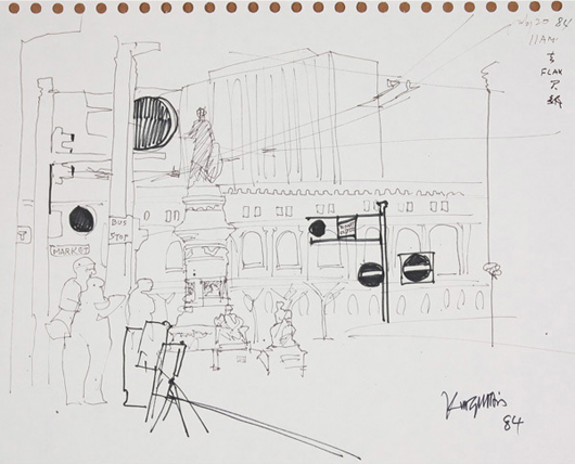 Dong Kingman (American 1911-2000) 'Market Street,' ink and market on paper. Estimate: $600-$900. Michaan's Auctions image.