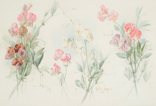 Paul De Longpre, (French 1855-1911), 'Snap Dragons, 1894, watercolor on paper. Estimate: $6,000-$9,000. Michaan's Auctions image.