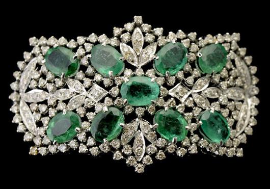 Emerald, diamond, 18K white gold bracelet. Estimate: $2,500-$3,500. Michaan's Auctions image.