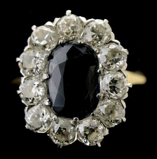 Sapphire, diamond, platinum, 14K yellow gold ring. Estimate: $300-$500. Michaan's Auctions image.