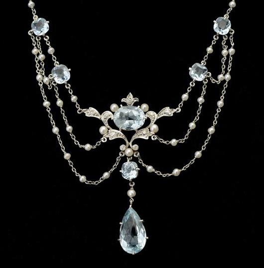 Aquamarine, diamond, pearl and platinum necklace. Estimate: $1,500-$2,000. Michaan's Auctions image.