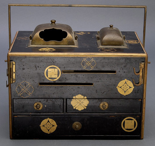 A Japanese gilt-painted and lacquered hibachi. Estimate: $350-$500. Michaan's Auctions image.