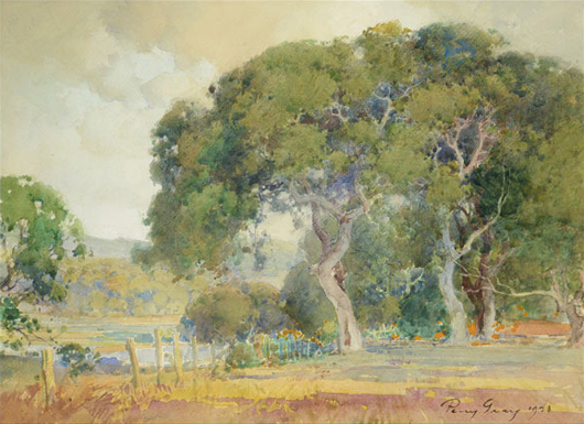 Percy Gray (American 1869-1952), 'Majestic Oaks with Poppies, 1923, watercolor on paper laid to board. Estimate: $15,000-$25,000. Michaan's Auctions image.