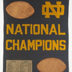 The Notre Dame logo on this 1929-30 souvenir pennant is similar to the one on Larry Rodts' rug. Image courtesy of LiveAuctioneers.com Archive and Leland Little Auction & Estate Sales Ltd.