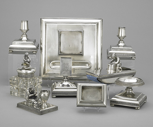 Russian silver desk set by Mikhail Ivanov. Price realized: $18,750. Rago Arts and Auction Center image.