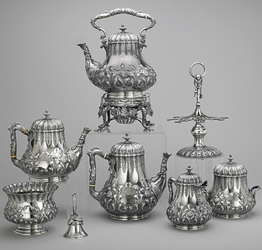 Tiffany & Co. extensive coffee service. Price realized: $13,750. Rago Arts and Auction Center image.