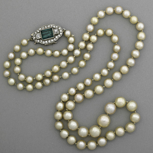 Art Deco pearl, emerald and diamond necklace. Price realized: $27,500. Rago Arts and Auction Center image.