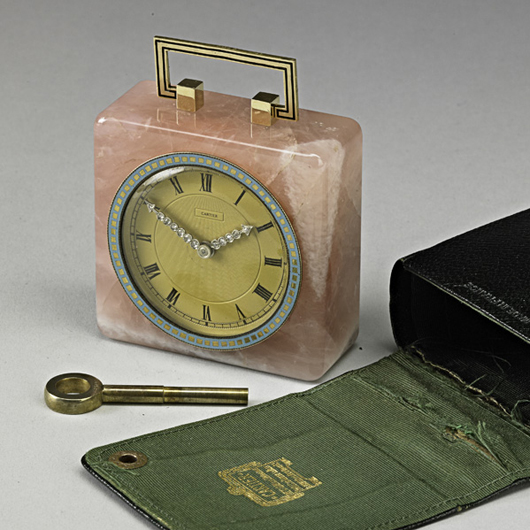 Cartier Art Deco rose quartz diamond pendulette. Price realized: $18,750. Rago Arts and Auction Center image.