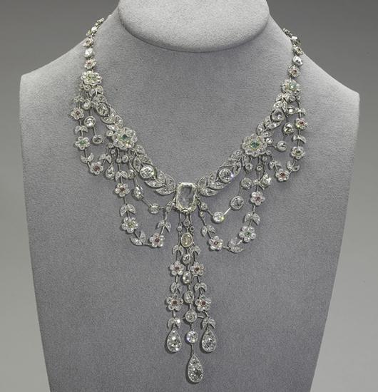 Platinum diamond garland necklace. Price realized: $62,500. Rago Arts and Auction Center image.