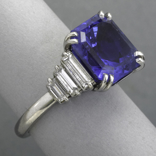 Sapphire, diamond and platinum ring. Price realized: $40,625. Rago Arts and Auction Center image.
