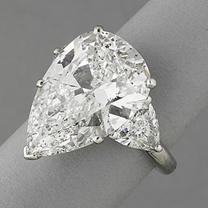 The top jewelry lot was a pear-shape diamond ring that sold for $68,750. Rago Arts and Auction Center image.