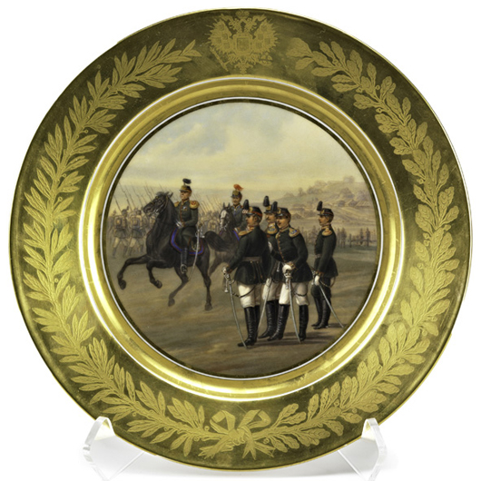 Alexander III imperial Russian porcelain plate. Price realized: $87,500. Rago Arts and Auction Center image