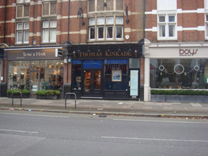 The West London gallery of the late American artist Thomas Kinkade, whose multimillion dollar estate has finally been settled following a heated battle between the painter's widow and former girlfriend. Image Auction Central News.