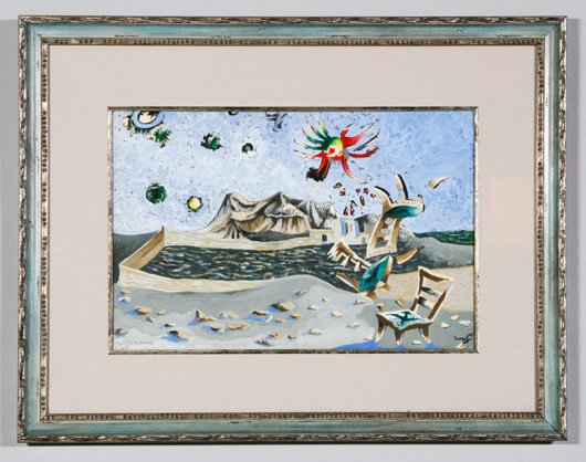 Jean Lucrat (French 1892-1966), 'Apocalypse des mal assis,' gouache on paper, from series of works, titled, numbered, signed and dated lower margin, 1945. Estimate: $1,200-$2,400. Kaminski Auctions image.