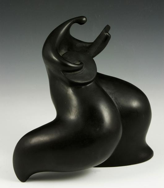 Jean-Louis Toutain (1948-2008), 'Figure with Guitar,' bronze sculpture, circa 1990s, 9 inches high. Estimate: $2,000-$5,000. Kaminski Auctions image.