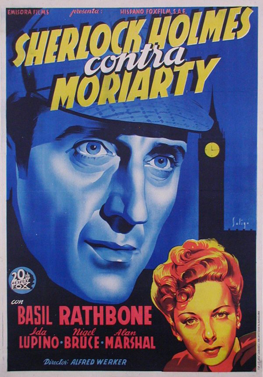 A Sherlock Holmes poster for the movie's release in Spanish. Image courtesy LiveAuctioneers.com Archive and The Last Moving Picture Company.