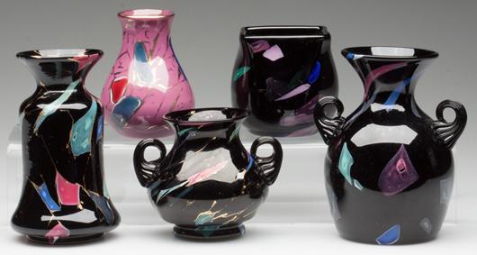 From a collection of Mount Washington Lava/Sicilian art glass. Jeffrey S. Evans & Associates image.