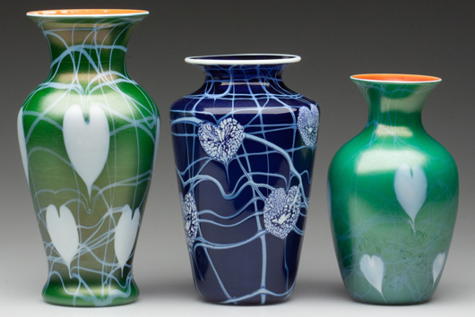 From an extensive collection of Imperial Free Hand and Lead Luster art glass. Jeffrey S. Evans & Associates image.