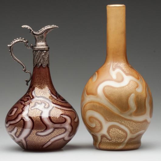 Fine Loetz Federzeichung 'Octopus' ewer and vase. Jeffrey S. Evans & Associates image.