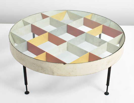 Cocktail table in the manner of Gio Ponti (Italian, 1891-1979) pictured in 'Domus, Taschen 1955-1959,' pg. 112. Est. $50,000-$130,000. Palm Beach Modern Auctions image.