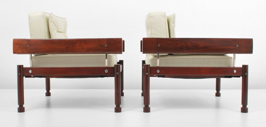Pair of Sergio Rodrigues (Brazilian, b. 1927-) prototype lounge chairs, circa 1950. Est. $16,000-$18,000 pair. Palm Beach Modern Auctions image.