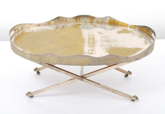 Maria Pergay (French, b. 1931-) silver-plated brass and wood tea table, circa 1960. Est. $10,000-$20,000. Palm Beach Modern Auctions image.