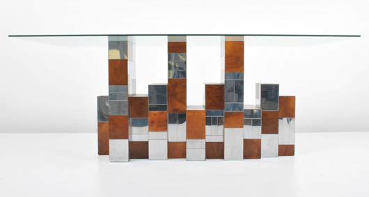 Paul Evans (American, 1931-1987) for Directional 'Cityscape' dining table, circa 1970, chromed metal and burl wood. Est. $6,000-$7,000. Palm Beach Modern Auctions image.