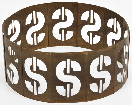 Andy Warhol (American, 1928-1987) 'Dollar Sign' metal sculpture, American, 1981, artist-signed and dated, a gift from Warhol to Steve Rubell. Est. $30,000-$50,000. Palm Beach Modern Auctions image.