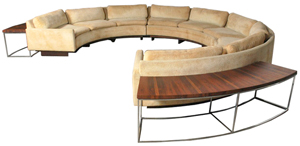 Milo Baughman (American, 1923-2003), 3-piece sectional sofa with revolving cocktail table and two rosewood sofa tables, circa 1970. Est. $4,000-$7,000. Palm Beach Modern Auctions image.