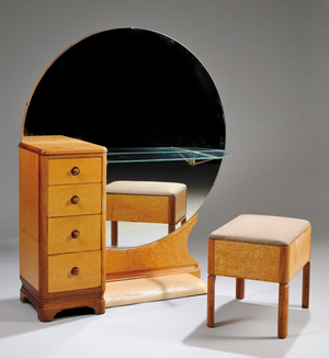 Art Deco bird's-eye maple veneer and maple mirrored vanity and upholstered lift-seat stool, 54 3/4 inches high by 46 3/4 inches wide by 14 1/2 inches deep. Estimate: $400-$600. Skinner Inc. image.