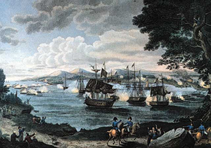 1816 engraving by B. Tanner depicting naval battle on Lake Champlain. The Battle of Plattsburgh, also known as the Battle of Lake Champlain, ended the final invasion of the northern states of the United States during the War of 1812. The battle took place shortly before the signing of the Treaty of Ghent, which ended the war. Public domain image in USA.