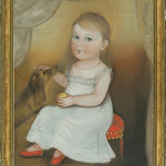 Deacon Robert Peckham (American, 1785-1877), 'Portrait of a Young Child in a White Dress and Red Shoes with Peach and Dog,' circa 1830, pastel on paper, 25 x 20 1/2 inches. Estimate: $60,000-$100,000. Keno Auctions image.