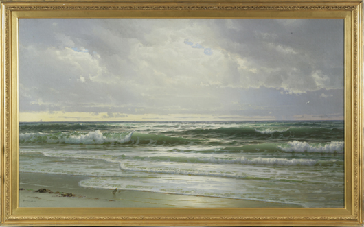 William Trost Richards (American, 1833-1905), 'Gentle Surf, New Jersey Coast, 1905,' signed and dated lower left: 'Wm. T. Richards. 05,' oil on canvas, 28 1/4 x 48 1/8 inches. Estimate: $40,000-$80,000. Keno Auctions image.