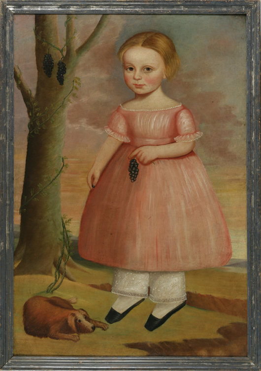 Joseph Goodhue Chandler (American, 1813-1884), 'Young Girl Holding a Cluster of Grapes with Her Dog at Her Feet,' probably Massachusetts, circa 1837-1845,  oil on canvas, 38 7/8 x 26 3/4 inches. Estimate: $12,000-$18,000. Keno Auctions image.