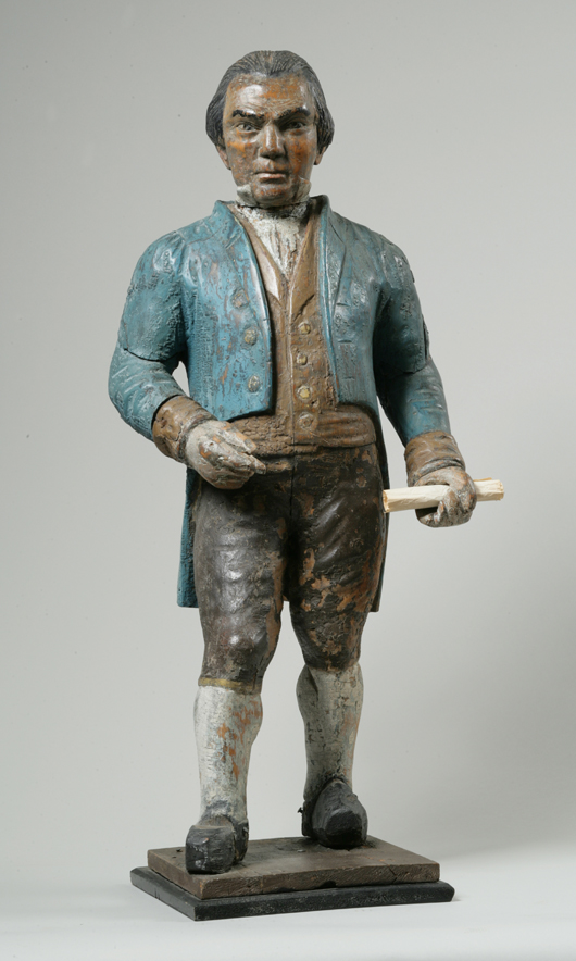 Painted pine countertop figure, possibly James Madison (1751- 1836), fourth president of the U.S., American, late 18th/early 19th century, 38 inches high. Estimate: $4,000-$8,000. Keno Auctions image.