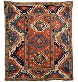 One of James Opie's rugs, a Bordjalou Kazak rug. Estimate: $10,000-$20,000. Grogan and Co. Fine Art Auctioneers.