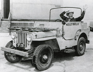 Roy Rogers' sidekick Pat Brady behind the wheel of Nellybelle. Image courtesy LiveAuctioneers.com Archive and High Noon Western Auctions.