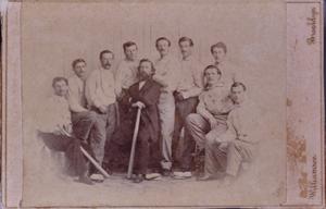 1865 baseball card depicting the Brooklyn Atlantics amateur baseball club. Image courtesy of Saco River Auction Co.