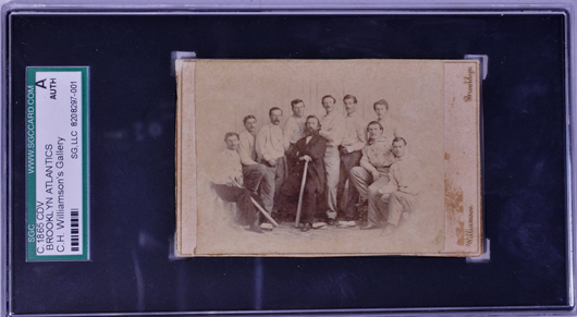 The card in its protective casing. Image courtesy of Saco River Auction Co.