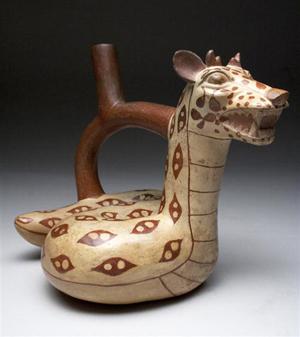 Moche mythological beast jar, ex-Platt Friedenberg collection, North Coast Peru, circa 400-500 CE. Estimate $6,000-$10,000. Antiquities Saleroom image.