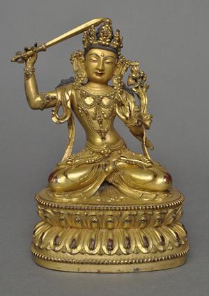 Sino-Tibetan gilt bronze Manjushri. Zanaba Auctions image.