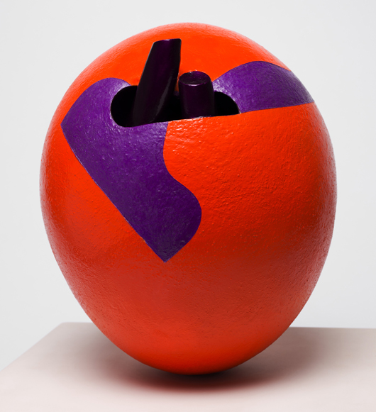 L. Red, a 1963 ceramic ovoid form painted with lacquer and acrylic, is one of 100 works in the traveling exhibition 'Ken Price Sculpture: A Retrospective,' organized by the Los Angeles County Museum of Art. This 13-inch-high work is on loan from the San Francisco Museum of Modern Art. Courtesy LACMA; photo Fredrik Nilsen.