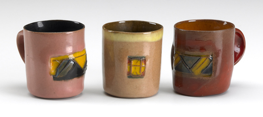 In the 1970s Price made a ceramic series inspired by Mexican folk pottery, which he called Happy's Curios after his wife. These three subtly colored tequila cups brought $4,880 at a Rago auction in 2010. Courtesy Rago Arts and Auction Center.