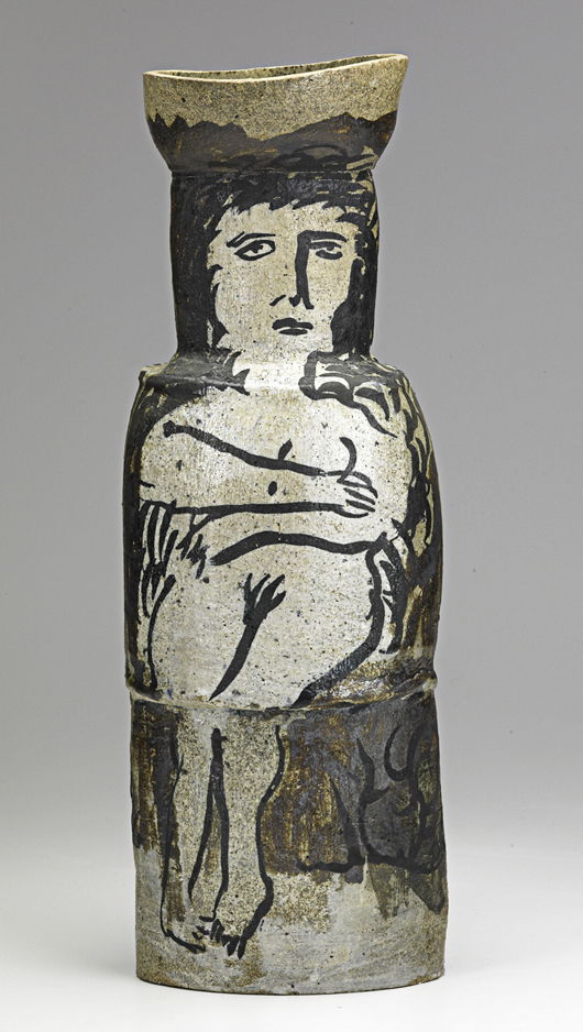 A glazed stoneware figural vase from the 1950s, signed 'K. Price,' sold for $2,000 in February 2012. Courtesy Rago Arts and Auction Center.