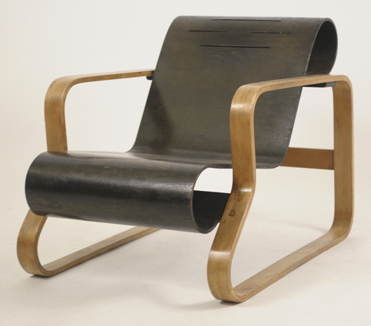 Iconic bentwood armchair designed by Alvar Aalto (Finnish, 1898-1976), manufactured in 1932. To be offered at auction Jan. 29 by Sworders in England with Internet live bidding through LiveAuctioneers.com. Estimate: £5,000 to £7,000. Sworders image.