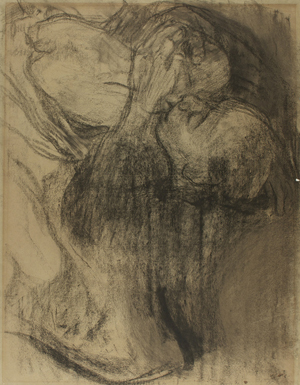 Kathe Köllwitz (1867-1945) 'Abschied' (Farewell), charcoal on gray-blue laid paper. Gray's Auctioneers image.