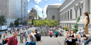 A view of the new plaza from the steps of the Fifth Avenue entrance. Construction should be completed in fall 2014. Image courtesy of the Metropolitan Museum of Art.